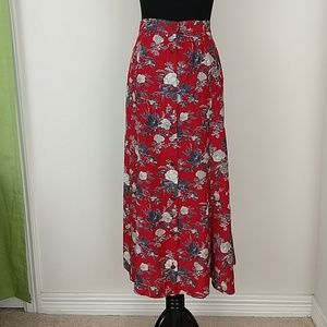 Vintage 1990s red button front floral maxi skirt